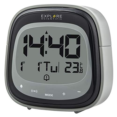 EXPLORE SCIENTIFIC RDC-3006-Reloj Despertador, Touch Key, Temperatura Interior, Radio controlado, Calendario, Control tactil, Alarma Dual, Pantalla LCD retroiluminada, Color Negro