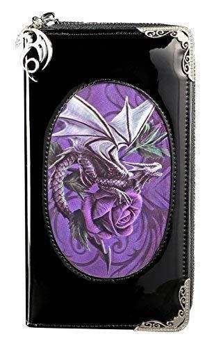 Drachen Geldbörse mit 3D Motiv | Dragon Beauty by Anne Stokes | groß schwarz lila Fantasy Gothic Geldbeutel Portemonnaie Lack