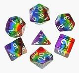 Flexble DND Juego de dados poliédricos translúcidos Rainbow Dice para mazmorras y dragones (D&D) Pathfinder Juego de rol Dice RPG MTG Juego de mesa de matemáticas 7-Die Dice Sets %D D20 D12 D8 D6 D4