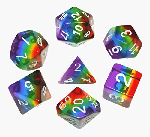 Flexble DND Polyedrische Würfel RPG Regenbogen Würfel Set für Dungeons und Dragons(D&D) Pathfinder MTG Tisch Spiel Würfel 7 Würfel Set W20 W12 W10 W8 W6 W4 (Regenbogen Würfel)