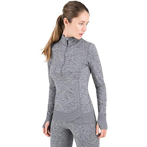 Terramar Cloud Nine Damen Jacke mit halbem Reißverschluss, Grau Melange, Größe XL