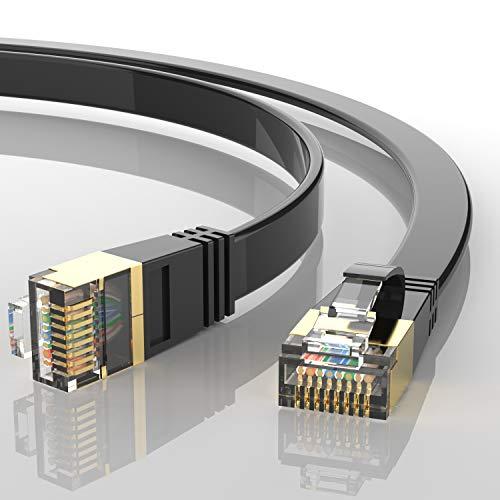 AUCAS Cable Ethernet Cat 8, conectores RJ45 32AWG Cat8, cable de red de alta velocidad para juegos, PS4, Xbox One, módem, router, PC, Mac, módem, juegos (0,5 m)