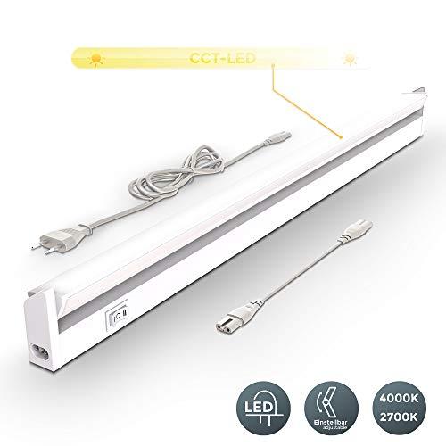 Lampada sottopensile cucina LED, Luca bianca naturale o calda, LED integrati 8W, Lunga 55.7 cm, luce orientabile, interruttore on off, plastica bianca, collegabile con lampade uguali, 230V IP20