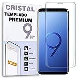 REY Protector de Pantalla Curvo para Samsung Galaxy S9 Plus / S9+, Transparente, Cristal Vidrio Templado Premium, 3D / 4D / 5D