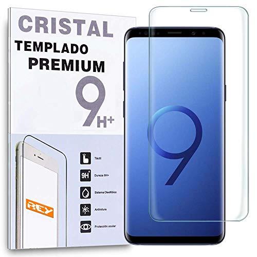 REY Protector de Pantalla Curvo para Samsung Galaxy S9 Plus   S9+, Transparente, Cristal Vidrio Templado Premium, 3D   4D   5D