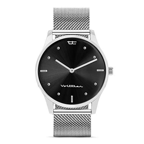 VOLTTIER Reloj para Mujer de Cuarzo con Correa de Malla en Acero Inoxidable (Plata-Negro)
