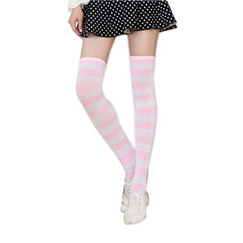 OULII Frauen Oberschenkel Hohe Socken Überknie Strumpf mit Breiten Streifen, Rosa und Weiß, Einegröße