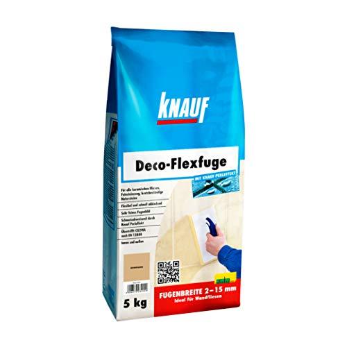 Knauf Deco-Flexfuge – Wand Fliesen-Mörtel auf Zement-Basis: pflegeleicht dank Knauf Perleffekt, schnell-härtend, passend zur Fliesenfarbe, Anemone, 5-kg