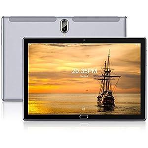 FEONAL Tablet 10 Pulgadas Android 10 4G LTE +WiFi, 4GB RAM+64GB ROM (TF 128GB), Octa-Core, Batería 6000mAh, Tableta con Cámara 13MP+5MP, 1080 FHD IPS, Dual SIM   GPS   OTG   Bluetooth 5.0-Gris