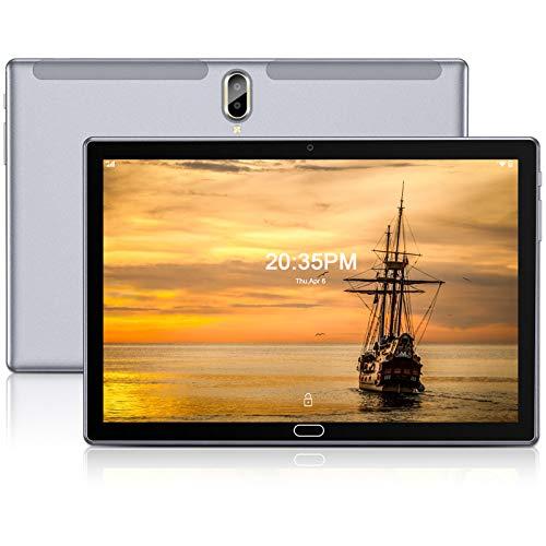 Tablet 10 Pollici,FEONAL Android 10 Tablets con 4G LTE + WIFI,4GB RAM + 64GB ROM,128GB Espandibili,Octa-Core,Batteria 6000mAh,Fotocamera 13MP,1080 FHD IPS,Dual SIM   GPS   Bluetooth   OTG-Grigio