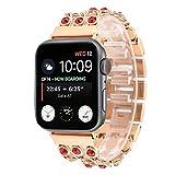Anbel 38 mm y 40 mm de Acero Inoxidable Reloj de la Banda, Cadena Vaquero con Rojo del Diamante del Reloj de la Correa, for Apple Ver Series de 5 y 4 y 3 y 2 y 1 (Color : Rose Gold)