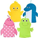 Greenbriar International Terrycloth Animal Puppet Bath Mitts Washcloths - Duck, Dolphin, Fish, Frog
