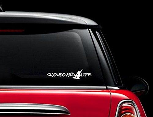 SUPERSTICKI® Snowboard Life Snowboarding Aufkleber Decal Hintergrund/Maße in inch Vinyl Sticker|Cars Trucks Vans Walls Laptop| White |7.5 x 2.5 in|CCI731