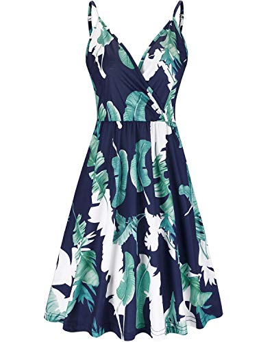 VOTEPRETTY Women's V-Neck Floral Spaghetti Strap Dress Summer Casual Swing Sundress with Pockets (Floral01,XL)