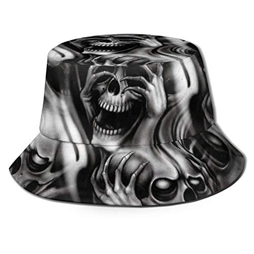 Sombrero de pescador See Hear Speak No Evil Skeletons Skulls Sun Bucket Sombreros para pesca al aire libre senderismo Negro