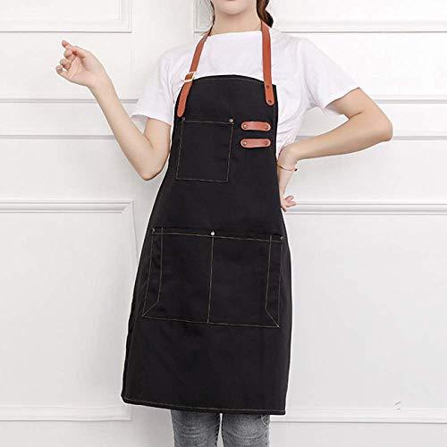 LYDCX Baumwollsegeltuch-Bügelschutzblech Stickte Restaurantarbeitskleidungs-Kleidungs-Taillenschwarzes des Wortsupermarktcafés Schnelles