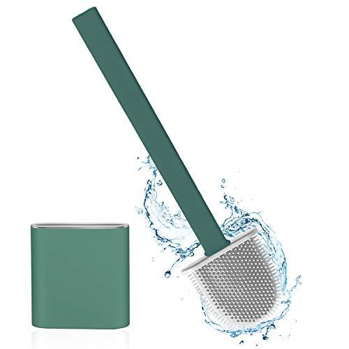 Silikon-Toilettenreinigungsbürsten-Kit,Toilettenbürste Set WC Bürste Silikon,Klobürste Silikon,Silicone Flex Toilet Brush,mit Halter Schnell Trocknendem WC-Garnitur für Badezimmer oder Gäste-WC Grün