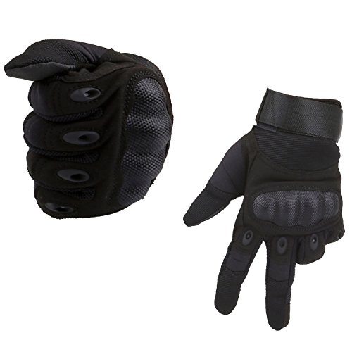 ACBungji Voller Finger Handschuhe Motorradhandschuhe für MTB Mountainbike Motorrad Motocross Quad Paintball Airsoft Security Tactical Militär KTM Fahrrad Rad Herren Damen Touchscreen (Schwarz, XXXL)