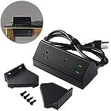 2 Outlet Clamp Mount Power Strip with USB Charging, Under Desk Removable Desktop Power Center Station, Outlet 110-220V/50HZ/10A, USB 5V/2.1A 5.9 ft Power Cord (Black)