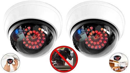 2X Kamera Dummy mit 25 roten LEDs IR Stahler Attrappe mit Objektiv Überwachungskamera Fake Camera täuschend echt für Wand Decke Weiss