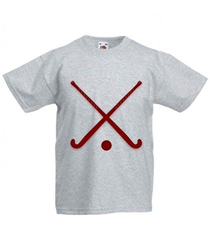 T-Shirt STÖCKE- Eishockey- Kugel- Sport- ÜBERSCHRITTEN- AUSRÜSTUNG- ROT- KASTANIENBRAUN in Grau für Herren- Damen- Kinder- 104-5XL