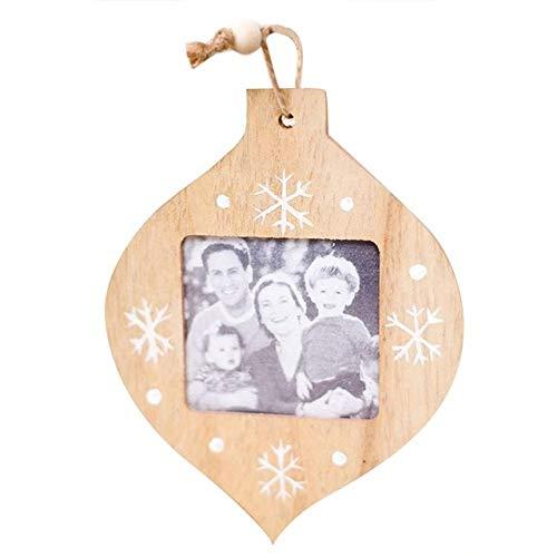 WERNG Decoraciones navideñas DIY Marco de Fotos de Madera Colgante Decoraciones navideñas Ree Adornos Decoraciones navideñas para el hogar Navidad A
