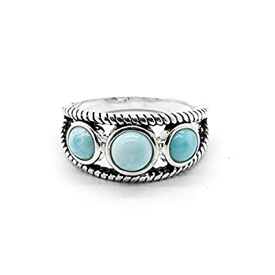 Women Larimar Ring 14K White Gold Plated Silver Adjustable Natural Gemstone Handmade Jewelry Classic Fashion Ring Best Gift