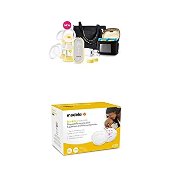 Medela Freestyle Flex Breast Pump and Ultra Thin Disposable Nursing Pads 120 Count Closed System Quiet Portable Breastpump Bra Pads with Leakproof Design Contoured for Optimal Fit and Discretion