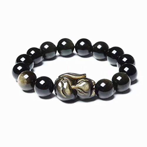 LINGS Feng Shui Amulett Armband 8Mm / 10Mm Obsidian Kristall Armband, Mit Fuchs Ehen Pfirsichblüte Armreif Geeignet Für Männer Und Frauen,8mm