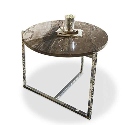 Loberon Couchtisch Rabbi, Edelstahl, Marmor, H/Ø ca. 45/55 cm, Tischplattenhöhe: 2cm, braun/Silber