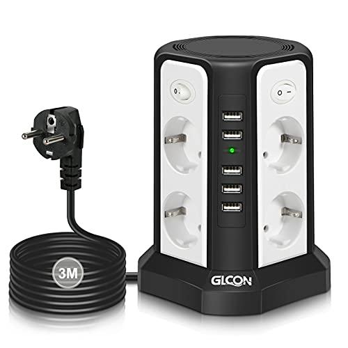 GLCON 8 Fach Steckdosenleiste überspannungsschutz mit 4 Schalter, Mehrfachsteckdose mit USB (5pcs, 5V/5A) 2500W für Zuhause und Büro, 3m Kabel Verteilersteckdose