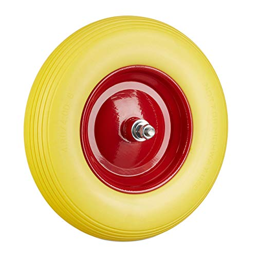 Relaxdays, gelb Schubkarrenrad Vollgummi mit Achse, 4.80 4.00-8 Gummirad, pannensicher, 100 kg Tragkraft Ersatzrad, rot