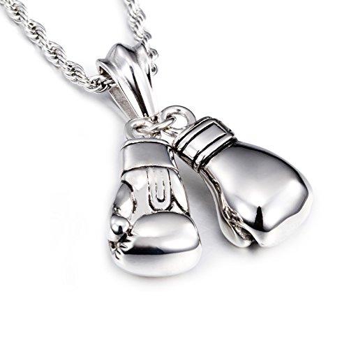 Yorwell Halskette Herren Kette Edelstahl Halskette mit Anhänger Boxhandschuh 22 Zoll Silber Kette für Männer