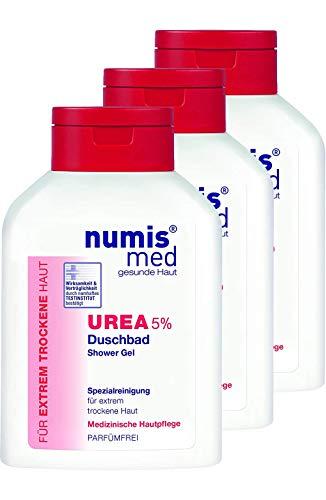 numis med Duschbad mit 5% Urea - Hautpflege parfümfrei & vegan - Duschgel für sensible, zu Neurodermitis neigende & trockene Haut - Showergel im 3er Pack (3x 200 ml)