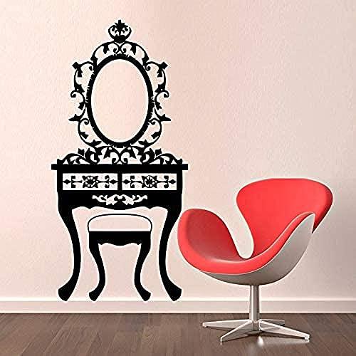 Pegatinas de pared calcomanías de arte decoración niña dormitorio espejo mesa de baño negro arte hueco 55x85 cm