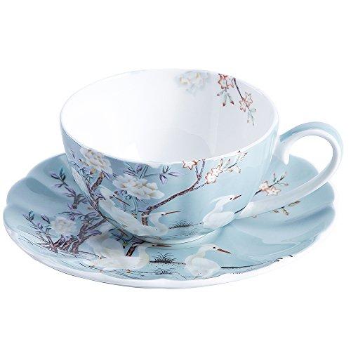 ufengke 8oz Azul Taza de Café de Porcelana Fina con Platillo,Flores de Colores,Platillo y Taza de Té de Porcelana de Grulla Blanca