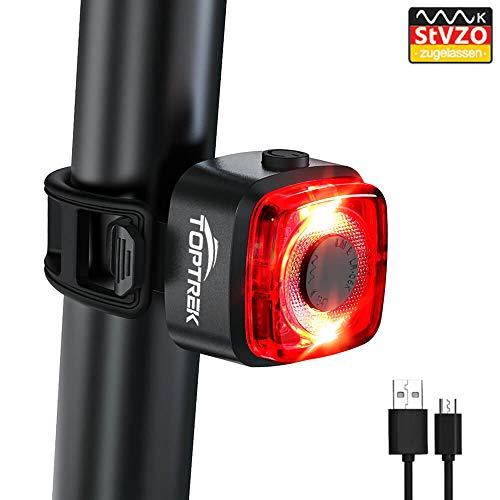 toptrek Rücklicht Fahrrad StVZO Zugelassen USB Aufladbar Batterie Fahrradrücklicht Wasserdicht IPX5 akku LED Fahrrad Rücklicht für Rennrad MTB (Schwarz)