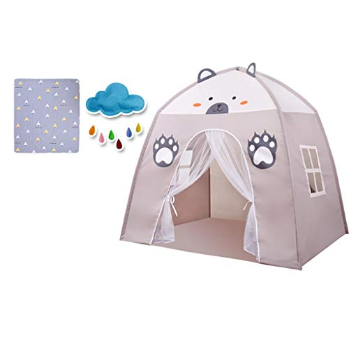 Tents Playhouse for Kids, Girl's Cat (Pink) Boy's Bear Play (gray) Birthday Gift for Children - Toy Hut - Happy Childhood (Color : Gray-C, Size : 130 * 100 * 130CM)