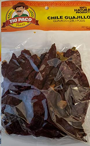 Chile Guajillo 3oz - Mexican Guajillo Peppers - 3oz Dried Whole Chili Pods - Mild to Medium Heat - Sweet Spicy Tangy Fruity Pleasant Flavor