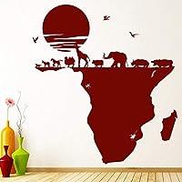 UYEDSR ウォールステッカーウォールステッカーサファリ動物アフリカの地図ビニールウィンドウステッカーキッズベッドルーム保育園インテリアインテリアリムーバブルアート壁画74x82cm