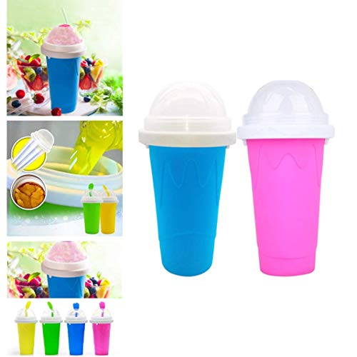 DIY Slushie Maker Cup, Magic Quick Frozen Smoothies Cup Cooling Cup Double Layer Squeeze Cup Slushy Maker, Homemade Milk Shake Ice Cream Maker DIY it for Children and Family Ice Cup (AC)