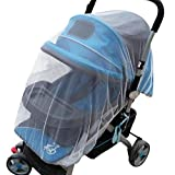 Mingi Summer Safe Baby Carriage Insect Cover Full Mosquito Net Baby Stroller Bed Netting, Blanco