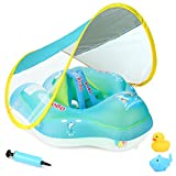 Baby Swimming Pool Float with Removable UPF 50+ UV Sun Protection Canopy,Toddler Inflatable Pool Float for Age of 3-36 Months,Swimming Trainer -S