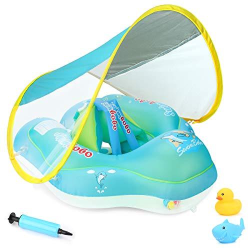 Luchild Anel flutuante inflável para bebês de 3 a 36 meses, com proteção solar, dossel para natação e água para crianças de 3 a 36 meses, grande