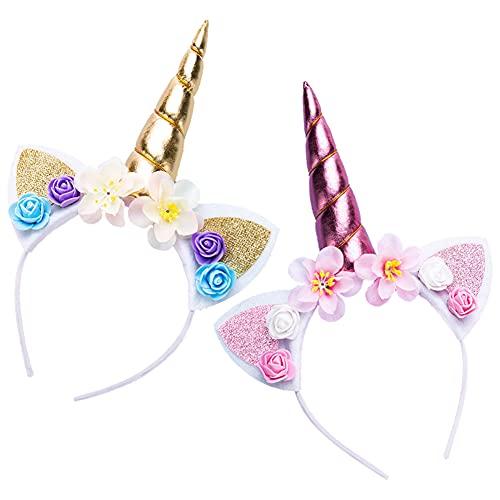 2pcs diademas de unicornio, Diademas de Unicornio con Flores, Diadema Unicornio para Cumpleaños Fiesta Unicornio Cosplay, Unicornio Diadema de Oro Brillante, Unicornio Rose Diadema(Dorado, Rosa)