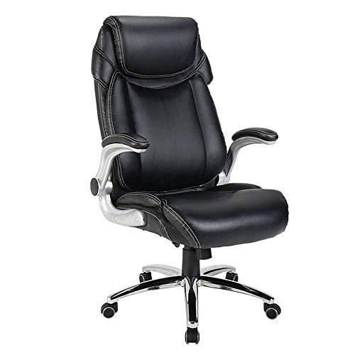 Ergonomischer Bürostuhl Drehstuhl, hohe Rücken PU-Leder Swivel Heavy Duty Aufgaben-Stuhl mit gepolsterten Armlehnen und Lendenwirbelstütze, Ergonomische verstellbare Liege Schreibtisch-Computer-Stuhl