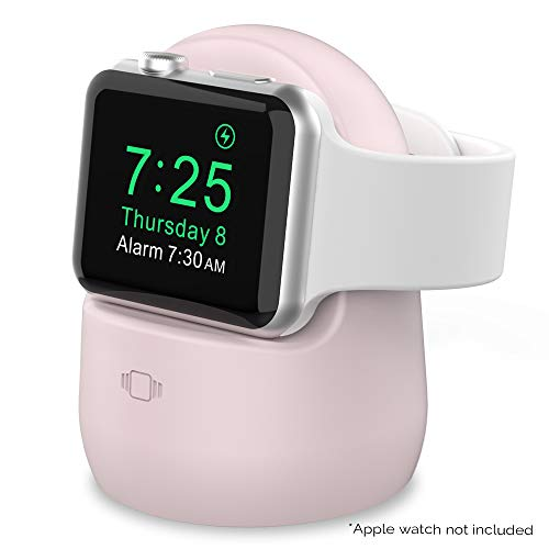 AhaStyle iWatch Charging Stand Silicone Dock Holder for Apple Watch Series SE/6/5/4/3/2/1(44/42/40/38mm),Supports Nightstand Mode【Adapters NOT Included】(Pink)