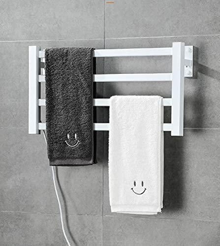 Secador De Toallas EléCtrico De Pared Y Secador De Toallas Programable por Aire Caliente El Mando A Distancia WiFi Es PráCtico Y Eficaz para El BañO,Blanco,57x30cm