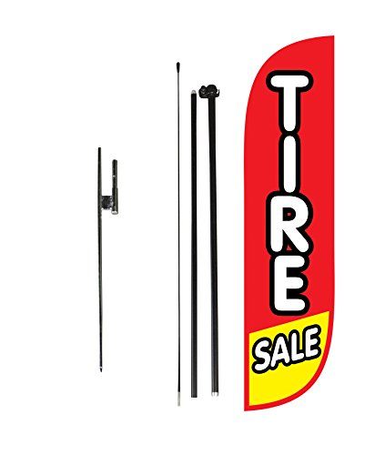 LookOurWay Tire Sale Feather Flag Complete Set with Poles & Ground Spike, 5-Feet