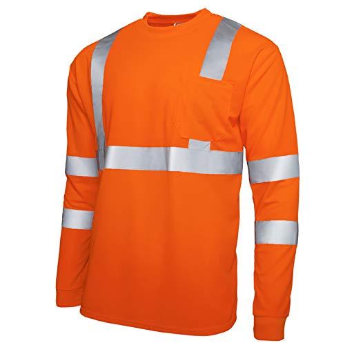 JORESTECH Safety T Shirt Reflective High Visibility Long Sleeve Orange ANSI Class 3 Level 2 Type R TS-08 (Extra Large)